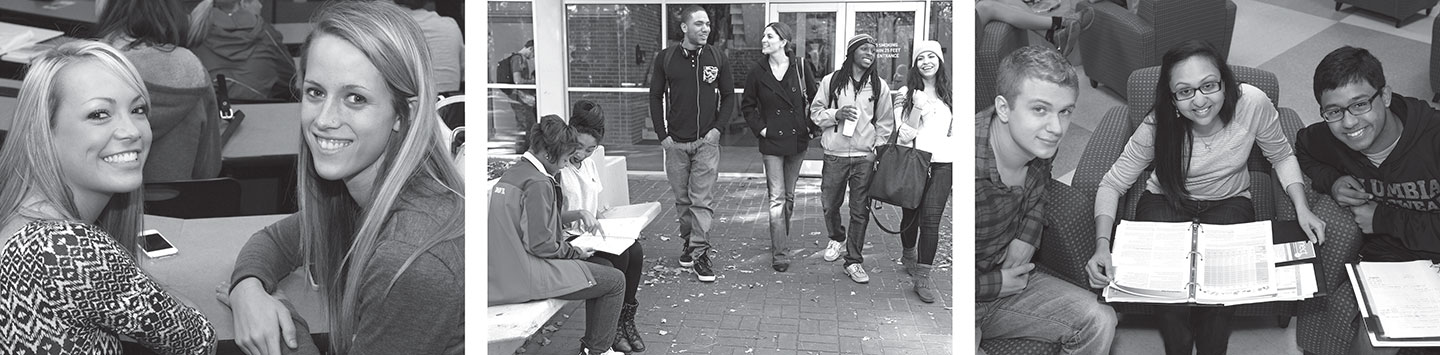 Three photos: two female students, group of male and female students walking outside, and two male and one female student studying