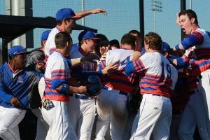 team celebrating a baseball win