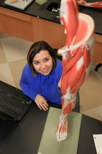 healthcare student inspecting model of leg