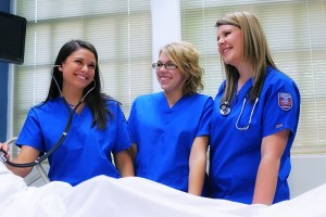 nursing students laughing together