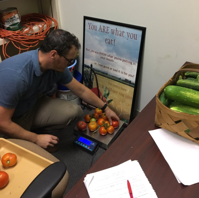 man weighing tomatoes