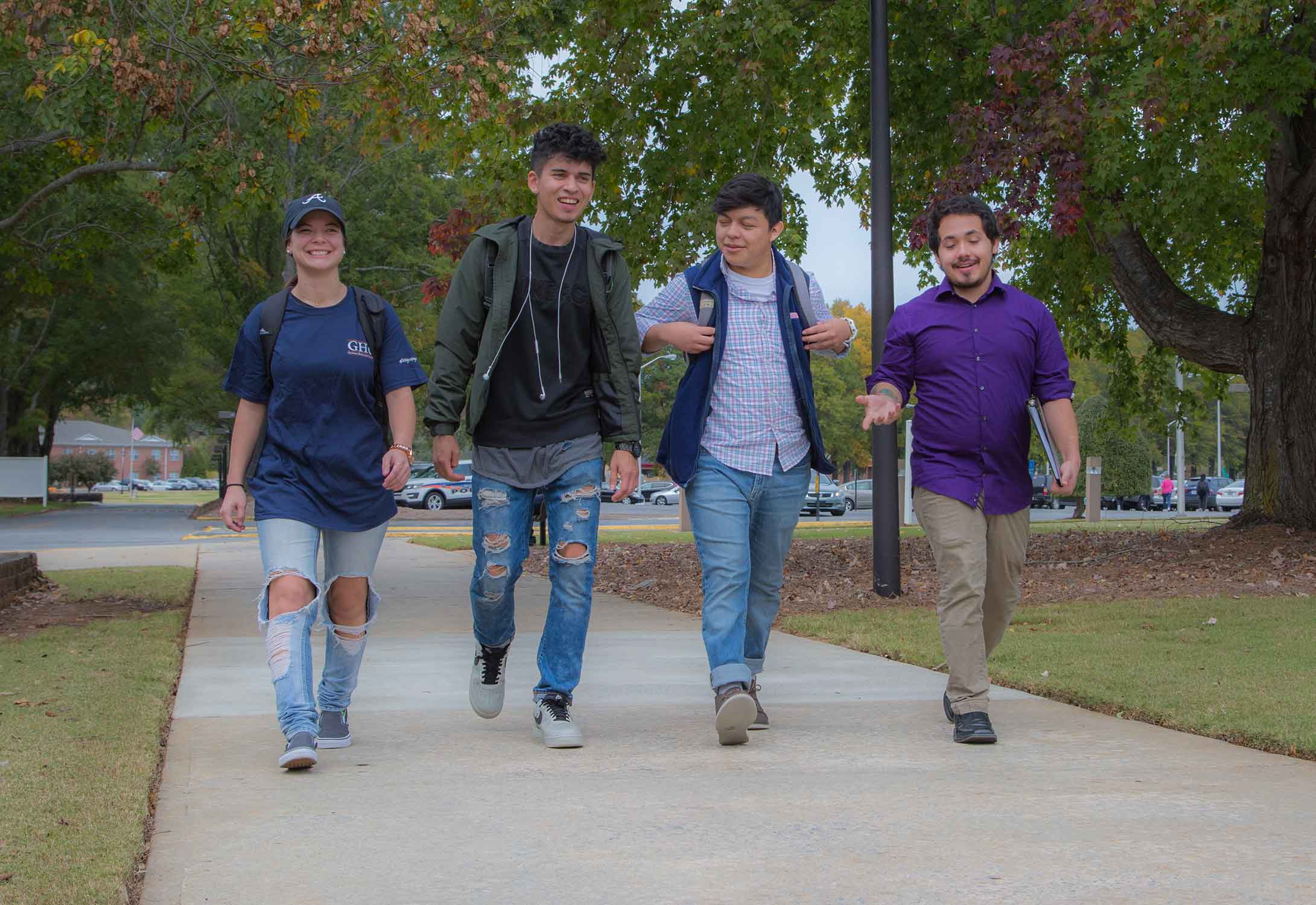 students walking on path