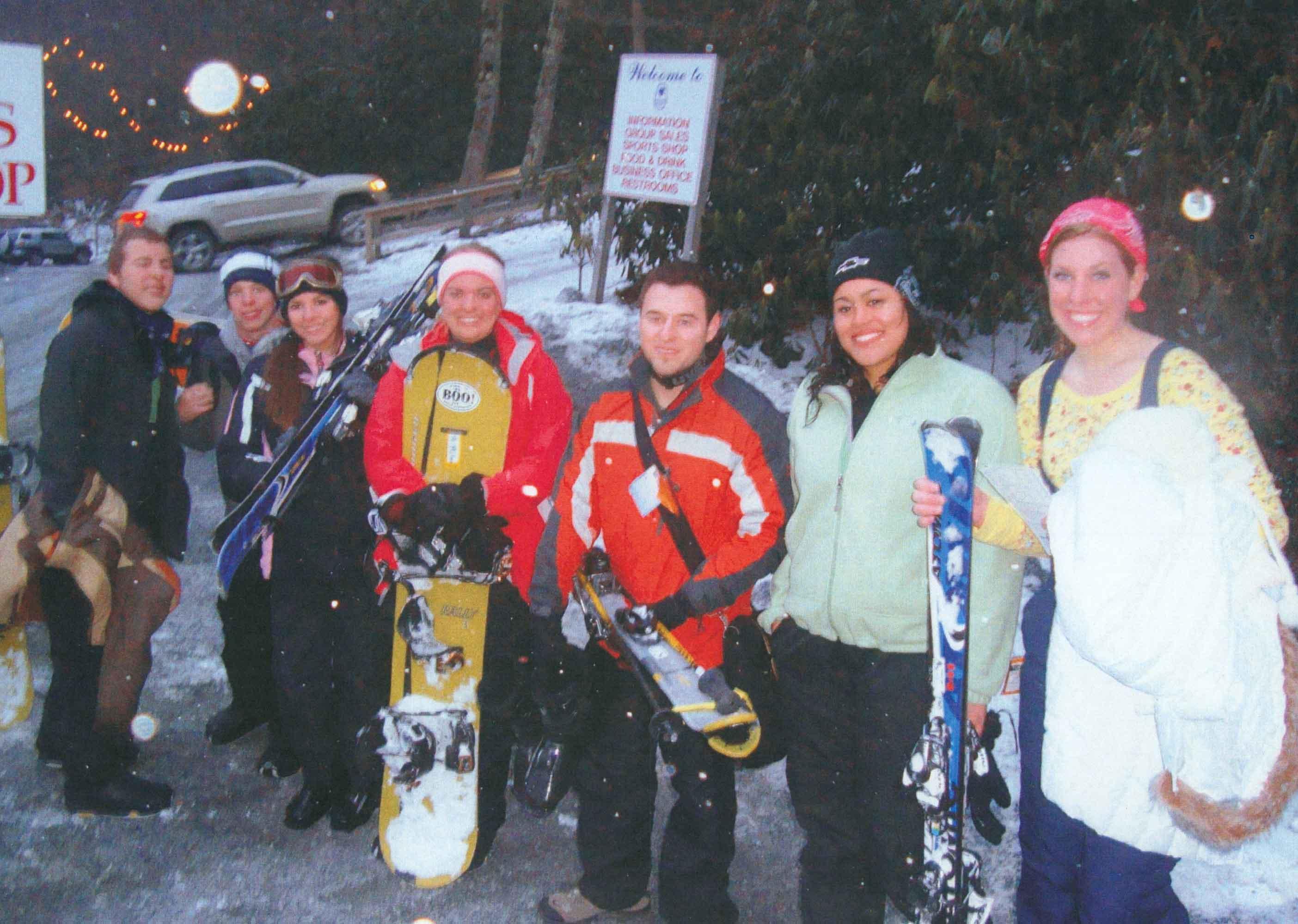 students skiing