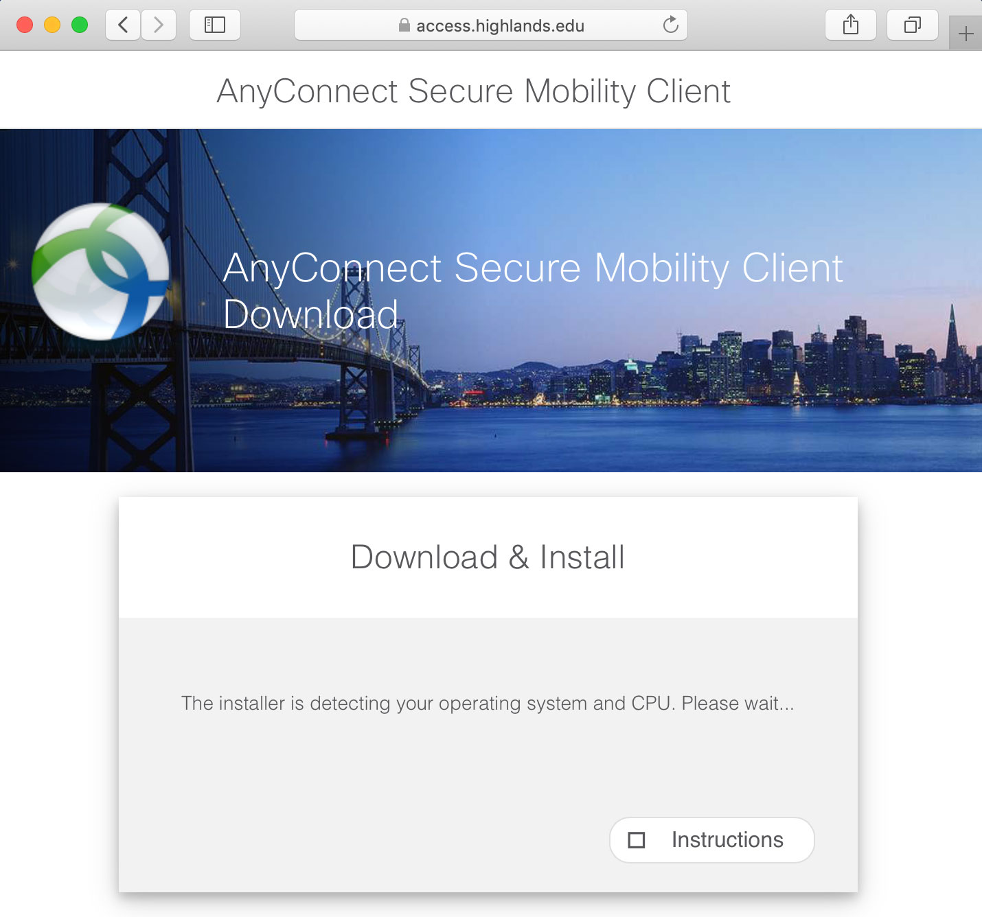The in-browser web process 'Download and Install' working to detect your operating system and CPU.