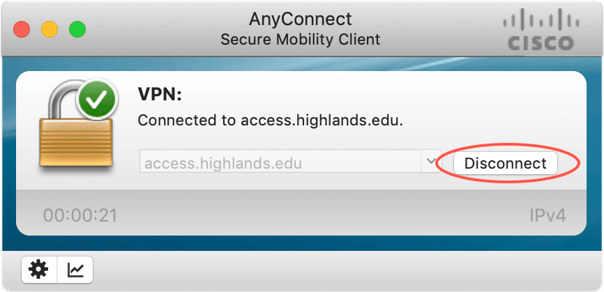 On the AnyConnect status modal, click 'Disconnect' to disconnect from the VPN.