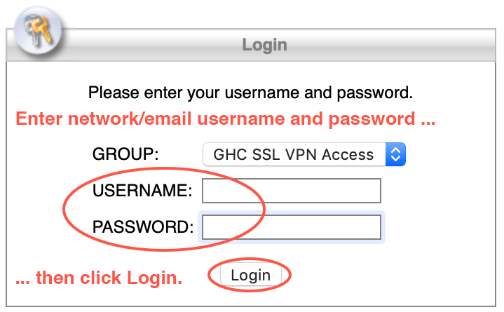Enter your network/email username and password and then click Login.