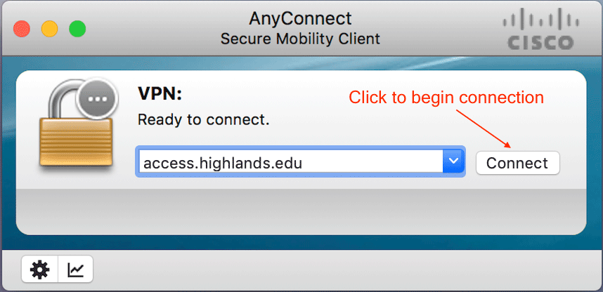 VPN Connect modal with instructions to add url and click connect button.