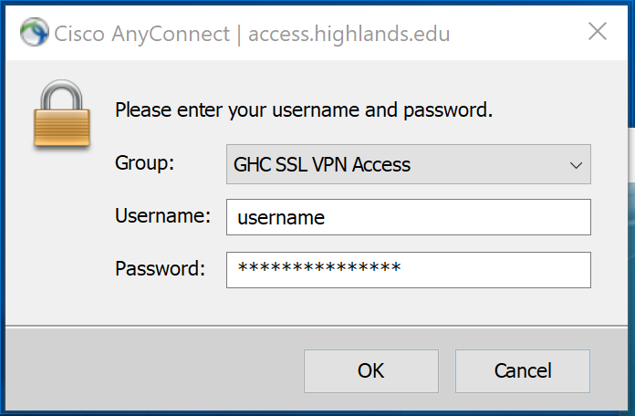 Modal for SSL VPN Access recommending login credentials. Username should not include @highlands.edu.